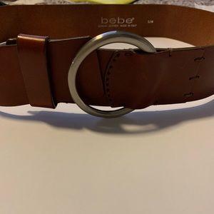 bebe caramel leather belt